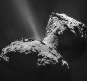 Comet 67P in January 2015 as seen by Rosetta's NAVCAM By ESA/Rosetta/NAVCAM https://www.flickr.com/photos/europeanspaceagency/16456721122/, CC BY-SA 2.0, https://commons.wikimedia.org/w/index.php?curid=40847079