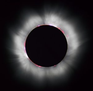 Sun's corona and chromosphere, visible to the naked eye during a total eclipse By I, Luc Viatour, CC BY-SA 3.0, https://commons.wikimedia.org/w/index.php?curid=1107408