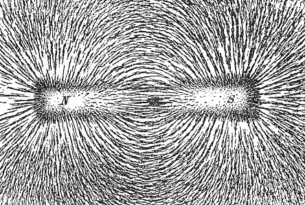 Magnetic field lines illustrated by iron filings on paper above a magnet. By Newton Henry Black - Newton Henry Black, Harvey N. Davis (1913) Practical Physics, The MacMillan Co., USA, p. 242, fig. 200, Public Domain, https://commons.wikimedia.org/w/index.php?curid=73846